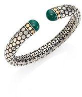 John Hardy Batu Dot Small Malachite, 18K Yellow Gold & Sterling Silver Kick Cuff Bracelet