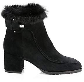 Aquatalia Women's Charlize Rabbit Fur-Trim& Shearling-Lined Suede Ankle Boots