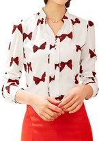 uxcell® Women Long Sleeves Stand Collar Button Decor Printed Blouse