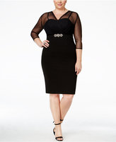 Alex Evenings Plus Size Illusion Embellished Sheath Dress