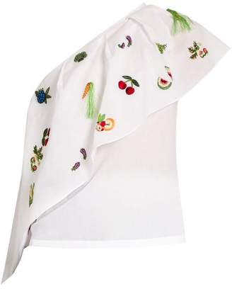 Rosie Assoulin One-shoulder Embroidered Cotton Top - Womens - White