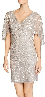 Adrianna Papell Beaded Cape-Sleeve Dress