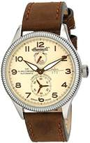 Ingersoll unisex Automatic Watch with Yellow Dial Chronograph Display and Brown Leather Strap IN3107SCR