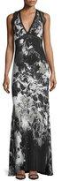 Roberto Cavalli Sleeveless Kimono-Floral Gown, Black/White
