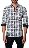 Jared Lang Men's Trim Fit Distressed Plaid Sport Shirt