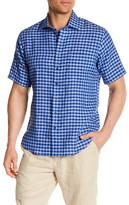 Toscano Short Sleeve Checkered Linen Regular Fit Shirt