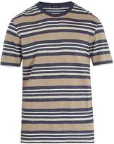 Ermenegildo Zegna Striped linen-blend T-shirt