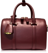 MCM Small Rustic Brown Signature Smooth Leather Boston Bag