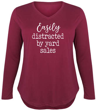 Instant Message Plus Women's Tee Shirts WINE - Wine 'Easily Distracted by Yard Sales' Long-Sleeve Tee - Plus