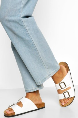 boohoo Double Strap Footbed Sliders