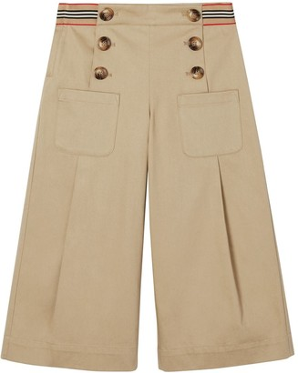 Burberry Buttoned Cotton Poplin Wide Leg Pants