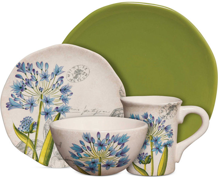 Gibson Botanical Charm Green 16-Pc. Set, Service for 4
