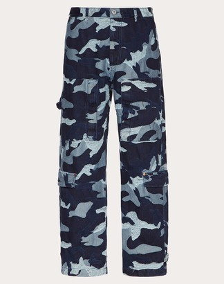 Valentino Denim Jacquard Cargo Pants With Embroidered V Man Navy 100% Cotone 48