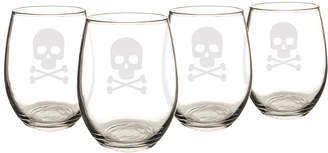 Cathy's Concepts Cathys Concepts Set Of 4 Skull + Crossbones 21Oz Stemless Wine Glasses