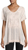Johnny Was Stargaze Flare Top W/ Lace Trim