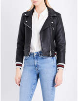 Claudie Pierlot Chleo striped-trim leather jacket