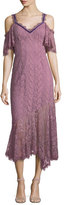 Nanette Lepore Debbie Lace Cold-Shoulder Slip Dress w/ Velvet Trim