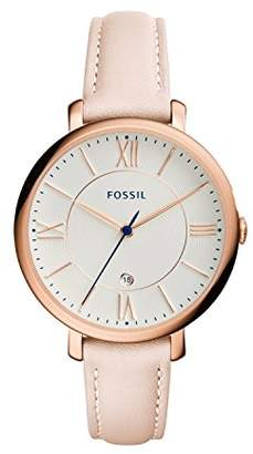 Fossil Jacqueline Blush Leather Watch / Analogue Women's Quartz Wrist Watch with Date Function in Gift Box - Rose Gold Stainless Steel Case