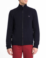 Gant Navy Zipped Lambswool Cardigan