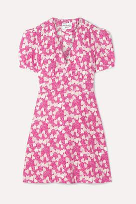 HVN Paula Printed Silk Crepe De Chine Mini Dress - Pink