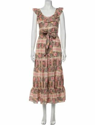LoveShackFancy Silk Midi Length Dress Pink