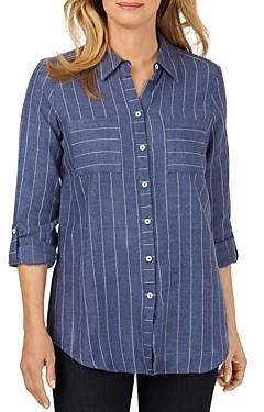Foxcroft Zoey Pinstriped Button-Down Top