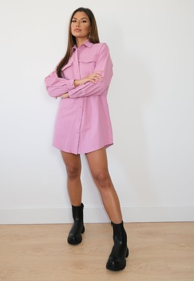Missguided Pink Quilted Pocket Shirt Dress
