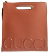 Gucci Men's Embossed Calf Leather Tote - Brown