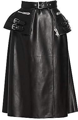 Alexander McQueen Women's Moto Leather Peplum Skirt