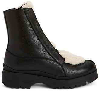 Aquatalia Shayla Shearling-Trimmed Leather Combat Boots