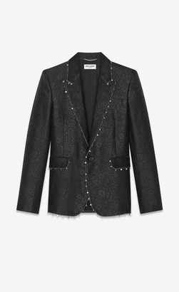 Saint Laurent Blazer Jacket Tailored Jacket In Jardin Noir Jacquard With Chain Trims Black 34
