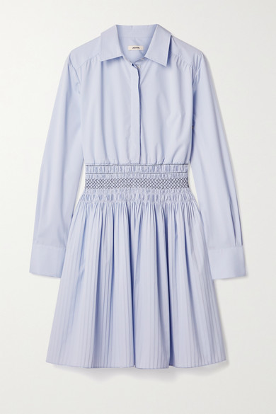 Jason Wu Shirred Cotton-blend Poplin Mini Shirt Dress - Light blue