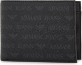 Armani Jeans Monogram textured leather billfold wallet