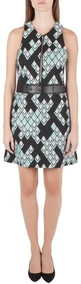 3.1 Phillip Lim Black Digital Anaconda Pattern Jacquard Belted Sleeveless Dress S