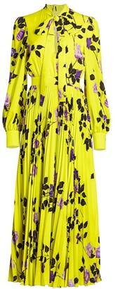 MSGM Floral Pleated Maxi Dress