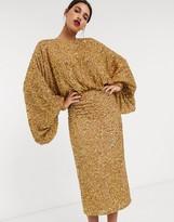 Asos Edition EDITION extreme sleeve sequin midi dress