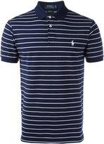 Polo Ralph Lauren logo patch striped polo shirt - men - Cotton/Spandex/Elastane - S