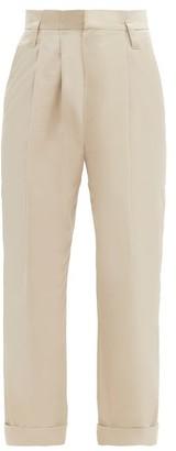 Brunello Cucinelli High-rise Double-pleat Cotton-blend Trousers - Beige