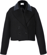 Carven Cropped Wool Jacket with Vinyl Collar