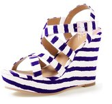 YDN Women Platform Sandals Strappy Wedge Open Toe Ankle Strap Shoes Stripe Size 8