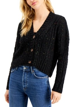 Hooked Up by IOT Juniors' Cropped Button-Front Cardigan
