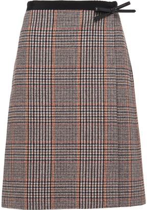 Prada Check Print High-Waisted Skirt
