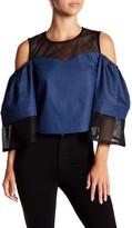 Gracia Mesh & Chambray Cold Shoulder Blouse
