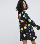 Reclaimed Vintage Inspired Tie Back Swing Dress In Floral Print