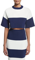 KENDALL + KYLIE Short-Sleeve Wide-Striped Crop Top