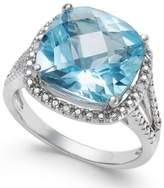 Macy's Semi Precious Gemstone (6 ct. t.w.) and Diamond Accent Ring in Sterling Silver (available in Blue Topaz, Mystic Topaz, Smoky Quartz, Citrine and Green Amethyst)