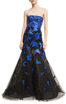 Oscar de la Renta Strapless Stamped Lace Mermaid Gown
