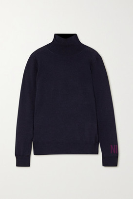 Nina Ricci Intarsia Merino Wool Turtleneck Sweater - Navy