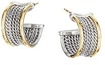 David Yurman Sterling Silver & 18K Yellow Gold Origami Cable Huggie Hoop Earrings
