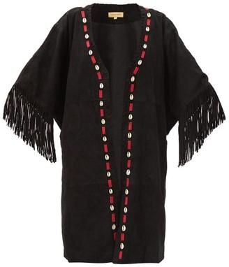Muzungu Sisters - Duni Shell-applique Tasselled Suede Jacket - Black Multi